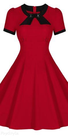 MIUSOL Scoop Neck Elengant Bow Vintage Casual Dress