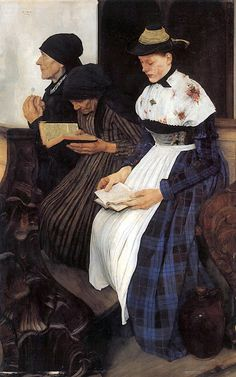 Three Women in Church by Wilhelm Leibl. Painted from October 1878 to December 1881.