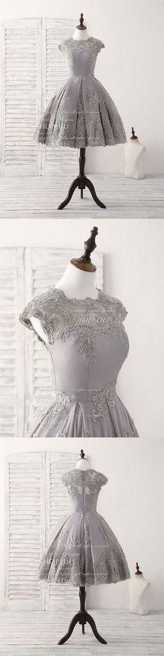 Gray round neck lace short prom dress gray bridesmaid dress