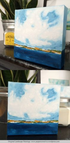 100 Artworks Challenge  painting number 3 oil on canvas 6x6 inches, 1.5 inches deep landscape art  clouds skyscape peppercornelvis