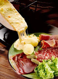 Raclette Cheese, Salami, Prosciutto, Cornichons