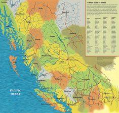 Pacific North West-Larger areas of First Nations People: Tutchone, Tagish, Inland Tingit (Tlingit), Tingit (Tlingit), Kaska Dena, Tahltan, Dene-Thah, Sekani, Dunne-za, Nat'ooten, Nisga'a, Gitxsan, Xaadas Haida, Tsimshian, Haisla, Wet'suwet'en, Dakelhne (Dakelh), Heiltsuk, Nuxalk, Oweekeno, Tsilhqot'in, Saulteaux, Cree, Stoney (Nakoda), Kwakwaka'wakw, Stl'atl'imx, Nlaka'pamux, Nuu-chah-nulth, Ditidaht, Okanagan, Ktunaxa / Kinbasket, Kalispell
