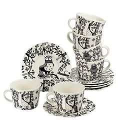 Iittala, Taika tableware black and white Glass Ceramic, My Dream Home, Dream Life, Dinner Table, Scandinavian Design, Kitchen Dining, Building A House, Tea Cups, Hardware