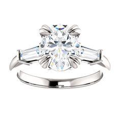Lannyte Diamond Oval Engagement Ring 14k white by JosephDiamonds