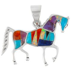 Horse Turquoise Pendant Sterling Silver Jewelry