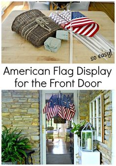 Add a bit of red white and blue to your front door with this easy American flag display in a hanging basket. Fourth Of July Decor, 4th Of July Decorations, 4th Of July Party, July 4th, Patriotic Crafts, July Crafts, Patriotic Party, Home Goods Decor, Front Door Decor