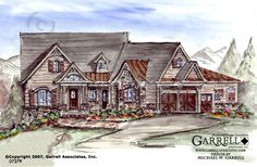 Garrell Associates, Inc. Stone Gap Cottage House Plan # 07379, Front Elevation, Mountain Style House Plans, Craftsman Style House Plans (2,512 s.f.) Design by Michael W. Garrell