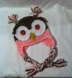 Handmade Crochet Newborn Infant Pink Owl Hat Baby Girl Photo Prop | eBay