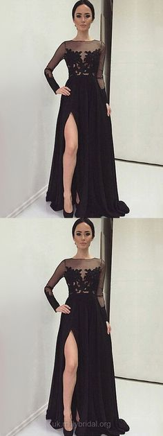 Black Prom Dresses, Long Prom Dresses With Sleeves, Lace Evening Dresses Chiffon, Unique Formal Dresses A-line #blackdress