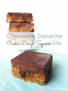Check out my Chocolate Ganache Cookie Dough Squares recipe. This recipe is vegan, no bake, gluten free, secret coconut oil ingredient and a crowd pleaser. These No Bake Squares are perfect for entertaining.
