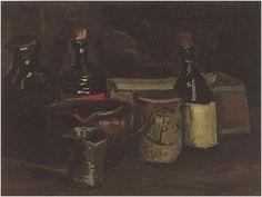 Naturaleza muerta con botellas y cerámica  Vincent van Gogh Pinturas, Óleo sobre tela Nuenen: noviembre - abril, 1884 -85 Museo Van Gogh Amsterdam, Los Países Bajos, Europa F: 61r, JH: 533
