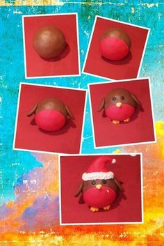 Marzipan coloured red, dipped in chocolate. Yellow star for feet and yellow triangle for beak. Black marzipan or black sweet for eyes. Christmas Cake Designs, Clay Christmas Decorations, Christmas Cake Topper, Christmas Cupcakes, Christmas Makes, Noel Christmas, Christmas Goodies, Christmas Treats, Christmas Spider