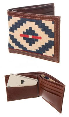 """La Matera - handmade """"Trucha"""" leather wallet adorned with traditional fabrics from Southern Argentina"""