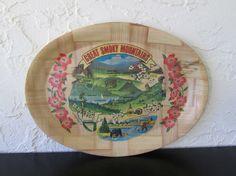 Great Smoky Mountains Carris Novelty Bamboo Souvenir Serving Tray AtomicPutz.com