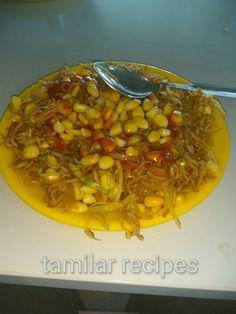 Tamilarrecipes.com corn  noodles Chana Masala, Noodles, Chili, Soup, Cooking Recipes, Ethnic Recipes, Macaroni, Chile, Chef Recipes