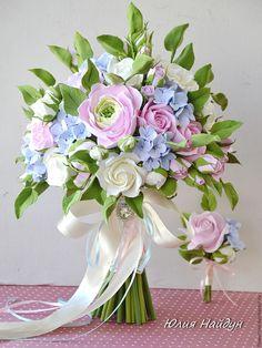 Купить Букет невесты с цветами из полимерной глины - бледно-розовый, сиреневый, белый, сливочный цвет