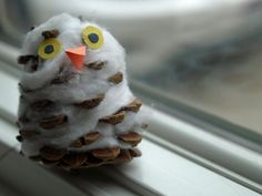 Owl! pinecone & stuffing thankful for birds - these were quite the hit with M. We'll make them again, for sure! ;)