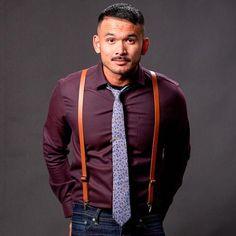 bd10ac2a8ee7 Tan Leather Skinny Suspenders