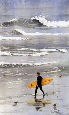 SURFER California SURFING Watercolor Signed Art by k9artgallery, $12.50