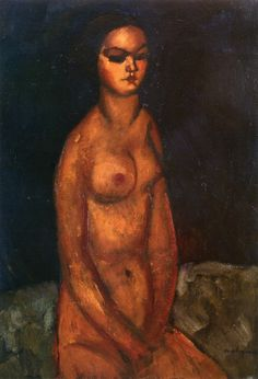 """Amedeo Modigliani, Livorno, Italy (1884-1920). Italian expressionist painter and sculptor. """"Seated Nude"""" (1908). Oil on canvas. 73x49.9cm. Private Collection."""