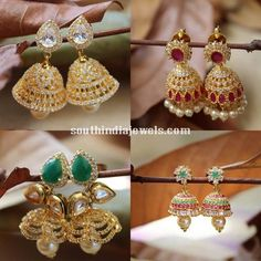 American daimond stone jhumka goes with lehangas, sarees Diamond Jhumkas, Gold Jhumka Earrings, Jewelry Design Earrings, Gold Earrings Designs, Gold Jewelry, Jhumka Designs, Beaded Jewelry, Traditional Earrings, Diamond Stone