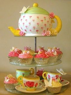 Tea pot cake and cupcake tea cups...I made this for my daughter one year...adorable!!