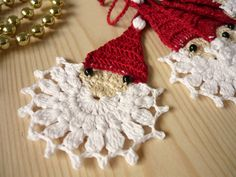 Crochet Christmas Santa Clauses, Holiday ornaments, Tree ornament, Holiday decorations by MariAnnieArt on Etsy