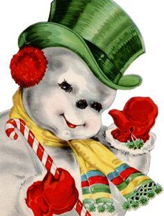 pinterest vintage christmas cards | FREE ViNTaGE DiGiTaL STaMPS**: Vintage Image - Christmas Snowman