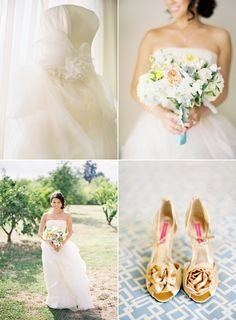 This is the complete package for a bride, she is beautiful.  The gold satin shoes with a rosette are the finishing touch.  www.celebrationsbykat.com Wedding Pins, Wedding Wear, Wedding Shoes, Wedding Events, Wedding Bouquets, Wedding Coordinator, Wedding Images, Our Wedding, Destination Wedding