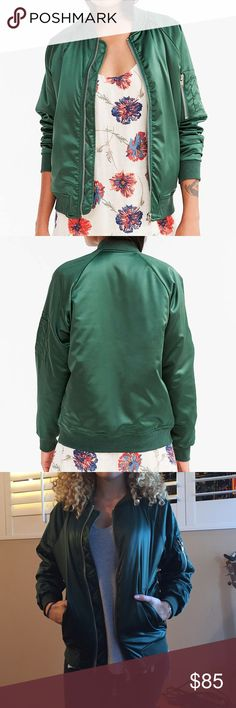 UNIF Satin emerald green bomber Jacket XS Super cool green bomber. XS. New with tags. Can fit a Small too! UNIF for Urban Outfitters Urban Outfitters Jackets & Coats Puffers
