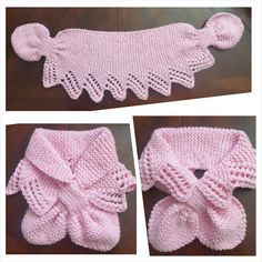 Hand Knit LACE Neck Scarf / neck warmer / PINK by QuiltNCrochet