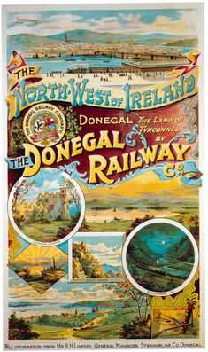 The County Donegal Railways Vintage Advertising Posters, Vintage Travel Posters, Vintage Advertisements, Retro Poster, A4 Poster, Poster Vintage, Poster Wall, Railway Posters, Wooden Jigsaw Puzzles