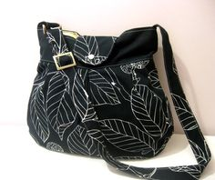Shoulder Bag-Diaper Bag-Messenger-Holiday Gift-Black Canvas  Leaves -Adjustable to Straps. $35.00, via Etsy.