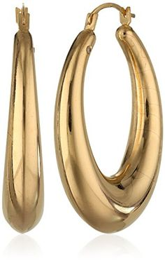 14k Yellow Gold Oval Infused with Nano Diamond Resin Hoop Earrings *** Read more reviews of the product by visiting the link on the image.