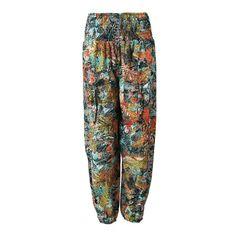 Jungle Leaf Print Shirred Harem Pants