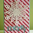 peppermint striped patterned paper with a sparkly snowflake and a negative die cut sentiment! | Kool Kitty Musings
