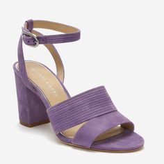 A sturdy block heel supports a thick double band detailed with delicate channeling across the vamp. Slender straps echo the subtle pattern and wrap around the sides of the feet and ankle in this plush Lavender sandal. Pretty Shoes, Cute Shoes, Me Too Shoes, Ankle Straps, Ankle Strap Sandals, Everyday Shoes, Fashion Heels, Etienne Aigner, Swagg