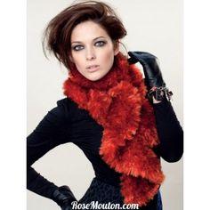CHAUFFE ÉPAULES ·  Echarpe tricotée en  laine imitation fourrure  Mink de   LanasStop. Catalogue Lanas 4e6e8b17f59