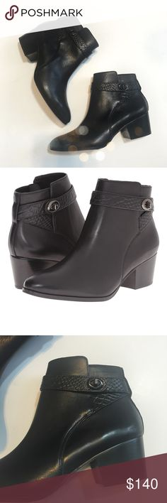 NWT Coach Black Embossed Turnlock Ankle Booties Super cute and perfect dressed up or down! Brand new and never worn. Cute snake embossed straps and Turnlock detail. No trades!! 022517290tmf Coach Shoes Ankle Boots & Booties