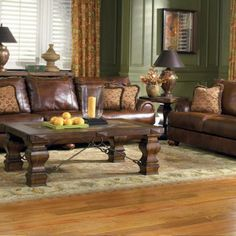 Awesome Grande Brown Sofa With Green Walls And Yellow Curtain , The Best Living Paint Color Ideas for Living Room with Brown Furniture To Get Catchy Look In Living Room Category
