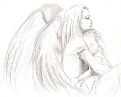 I made this guardian angel sketches for my friend who just got a baby boy. She wanted to have an oil painting of a guardian angel watching over her newborn baby. At first she told me she'd li… Angel Sketch, Angel Drawing, Baby Drawing, Pencil Drawings For Beginners, Pencil Drawings Of Love, Art Drawings Sketches, Baby Tattoos, Tattoos For Kids, Angel Art