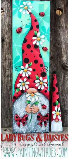 Holiday Crafts, Fun Crafts, Arts And Crafts, Gnome Paint, Tole Painting Patterns, Wood Patterns, Henna Patterns, Arte Country, Painted Rocks