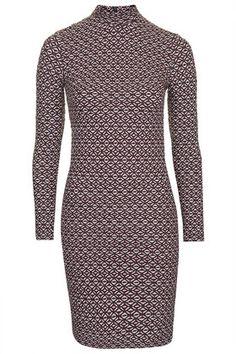 High Neck Geo Jacquard Bodycon Dress