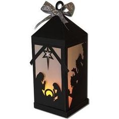 Silhouette Design Store: nativity scene lantern (flameless)