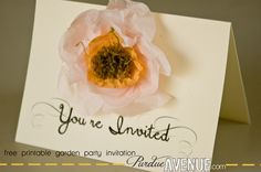 super cute invitation!  It has the printable and the how to for the tissue paper flower!  loving this!!