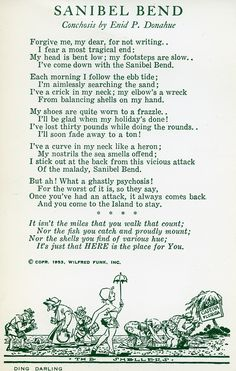 The Sanibel Bend - a poem about seashell lovers....1953 postcard.