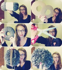 "Gigantic Pom Pom How-To Fancy ladies and wonderful gentlemen, would you like to know how to make a huge pom-pom? Let me show you!1. Get a skein of yarn (170 yards) You'll be using it all.2. Cut out some cardboard doughnuts . These are 7"" in diameter with a 5"" diameter cut out.3. Sandwich some yarn inbetween the two pieces and leave the tails out, those will be used to cinch all the yarn together. Wrap the rest of the yarn all around the circles. Over and over and over and over. Be sure to…"
