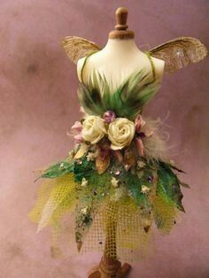 A Fairy Tale ~ This fairy dress belongs in a fairy tale.You can find Fairy dress and more on our A Fairy Tale ~ This fairy dress belongs in a fairy tale. Fairy Clothes, Fairy Dress, Fairy Wings, Dollhouse Miniatures, Fairy Tales, Flowers, Fairy Costumes, Fairy Costume Diy, Fairy Makeup