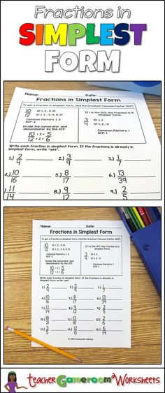 reducing fractions to lowest terms with the simplest form worksheet ...