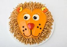Lion Birthday Cake Design *I would use pretzel sticks instead of crunchy chow mein noodles* Animal Birthday Cakes, Lion Birthday, Unique Birthday Cakes, Cake Birthday, Unique Cakes, Creative Cakes, Birthday Parties, Circus Birthday, Birthday Nails